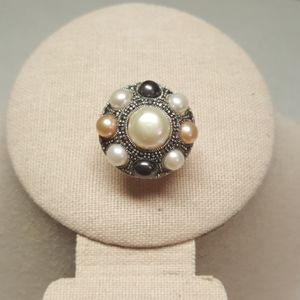 Multi-color Freshwater Pearl & Marcasite Ring